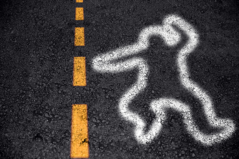 Outline of a body on a Wisconsin highway, indicating a traffic fatality